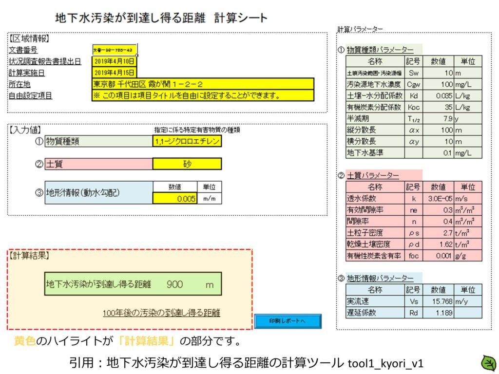 地下水汚染が到達し得る距離の計算ツール 計算結果