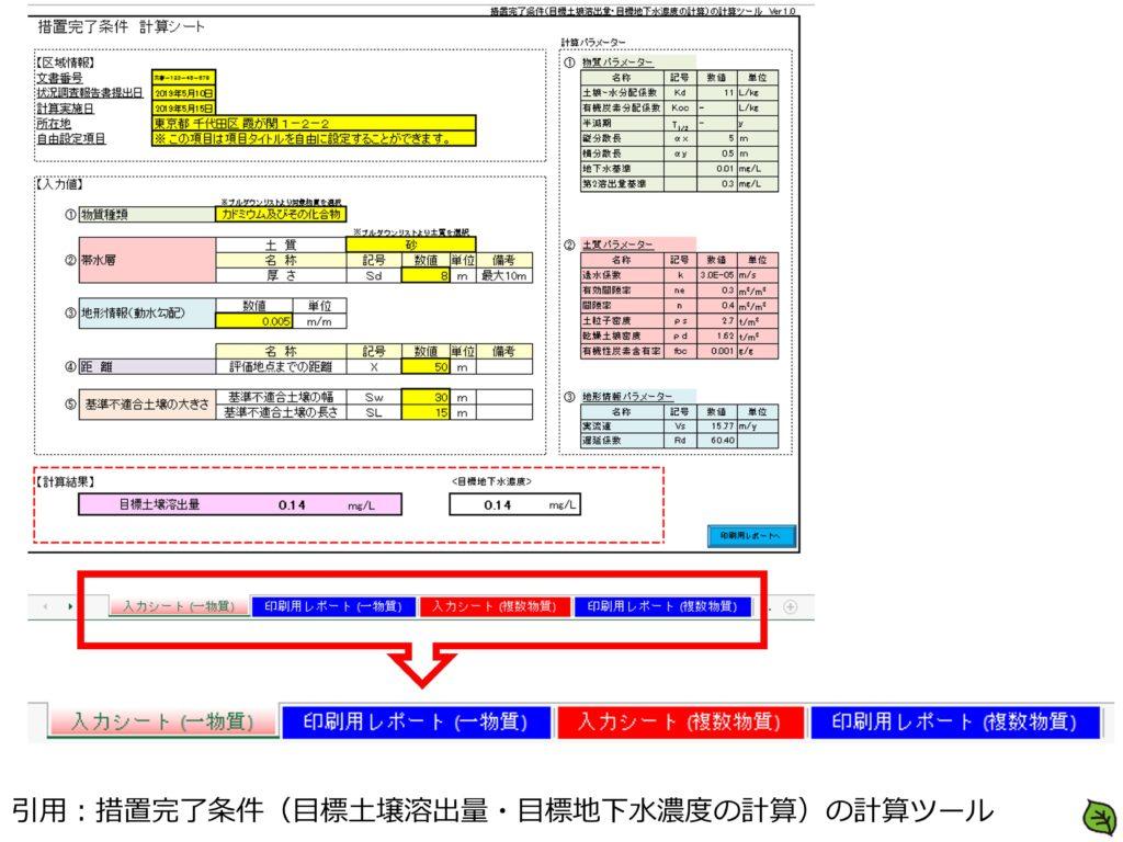 措置完了条件(目標土壌溶出量・目標地下水濃度の計算)の計算ツール1